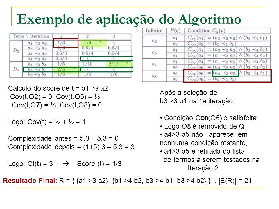 Exemplo de aplicação do Algoritmo Cálculo do score de t = a1 > 3 a2 Cov(t,O2) = 0, Cov(t,O5) = ½, Cov(t,O7) = ½, Cov(t,O8) = 0 Logo: Cov(t) = ½ + ½ =