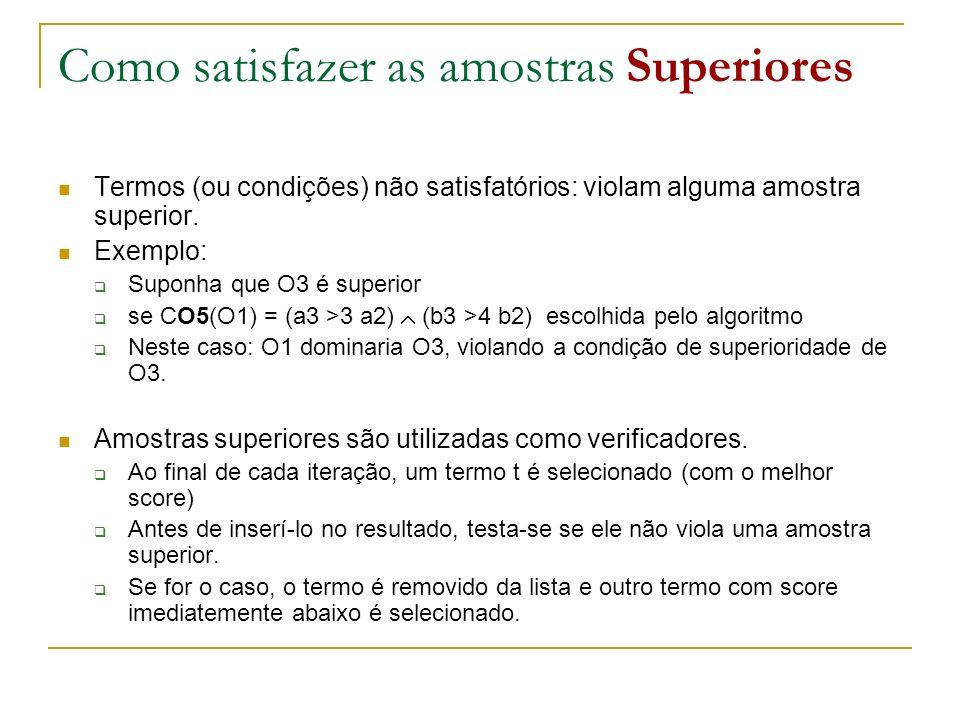 Como satisfazer as amostras Superiores Termos (ou condições) não satisfatórios: violam alguma amostra superior. Exemplo: Suponha que O3 é superior se