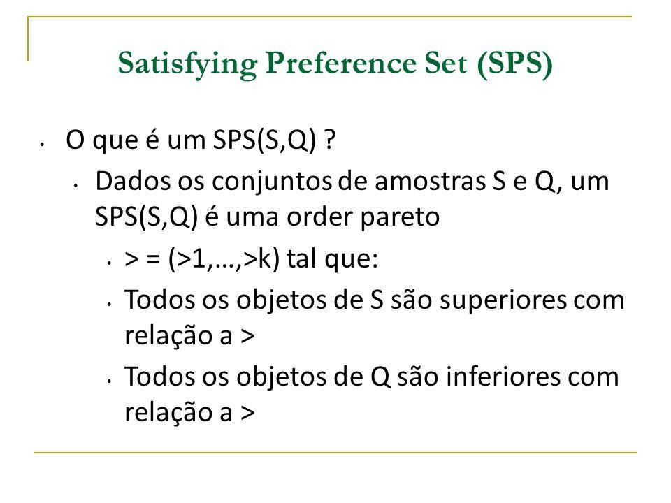 Satisfying Preference Set (SPS) O que é um SPS(S,Q) ? Dados os conjuntos de amostras S e Q, um SPS(S,Q) é uma order pareto > = (>1,…,>k) tal que: Todo