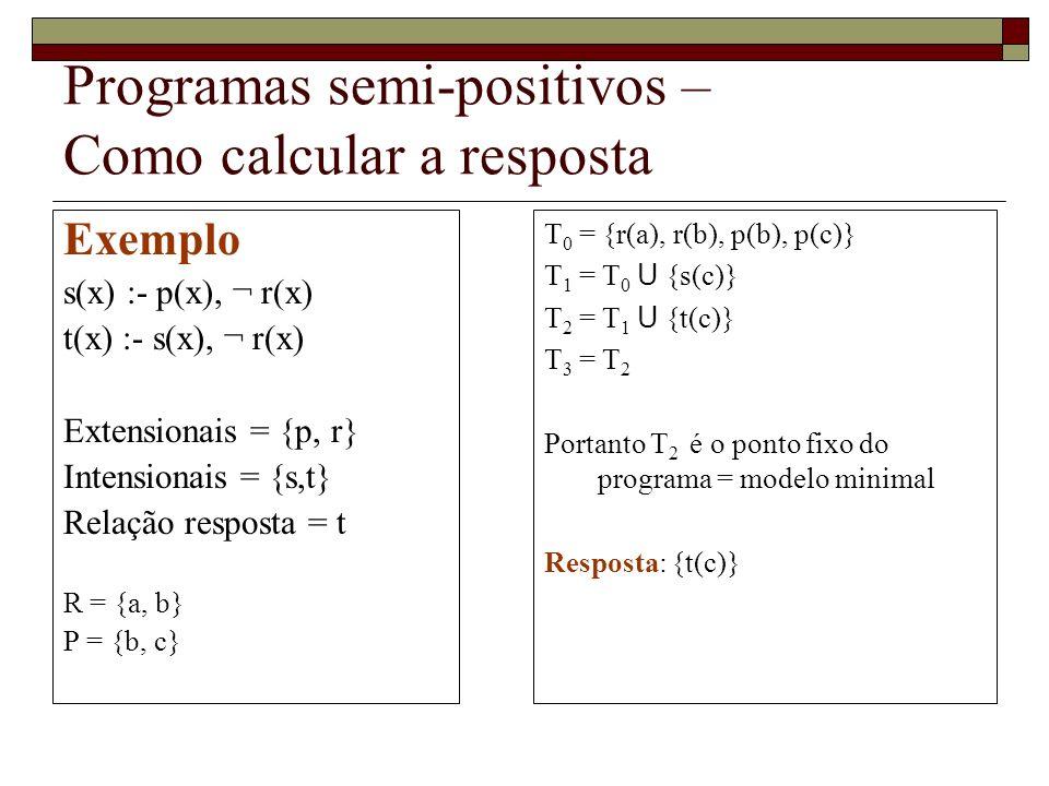 Programas semi-positivos – Como calcular a resposta Exemplo s(x) :- p(x), ¬ r(x) t(x) :- s(x), ¬ r(x) Extensionais = {p, r} Intensionais = {s,t} Relação resposta = t R = {a, b} P = {b, c} T 0 = {r(a), r(b), p(b), p(c)} T 1 = T 0 U {s(c)} T 2 = T 1 U {t(c)} T 3 = T 2 Portanto T 2 é o ponto fixo do programa = modelo minimal Resposta: {t(c)}