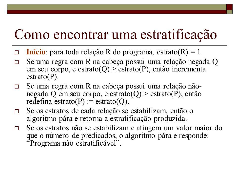 Exercício r1 S(x) :- R1(x), not(R(x)) r2 T(x) :- R2(x), not(R(x)) r3 U(x) :- R3(x), not(T(x)) r4 V(x):- R4 (x), not(S(x)), not(U(x)) R1 = {a, b, c} R = {a} R2 = {a, d} R3 = {a, c} R4 = {a,d}