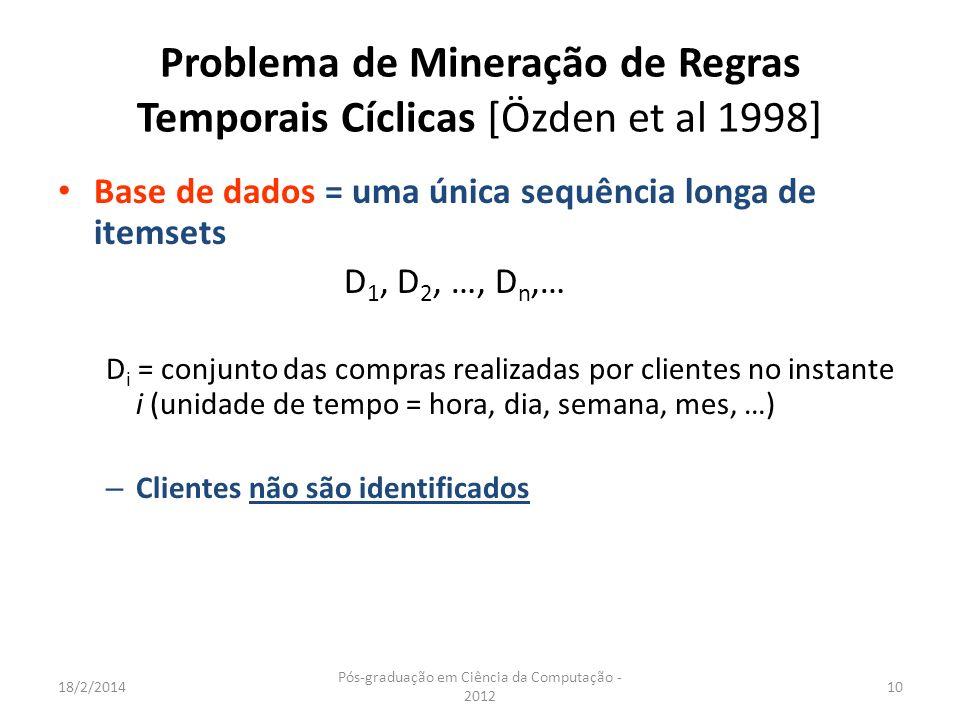 18/2/2014 Pós-graduação em Ciência da Computação - 2012 10 Problema de Mineração de Regras Temporais Cíclicas [Özden et al 1998] Base de dados = uma ú