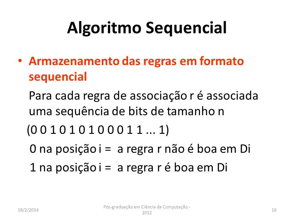 18/2/2014 Pós-graduação em Ciência da Computação - 2012 16 Algoritmo Sequencial Armazenamento das regras em formato sequencial Para cada regra de asso