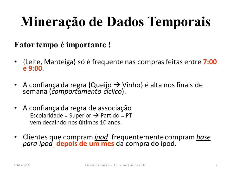 18-Feb-14Escola de Verão - USP - São Carlos 20102 Mineração de Dados Temporais Fator tempo é importante ! {Leite, Manteiga} só é frequente nas compras