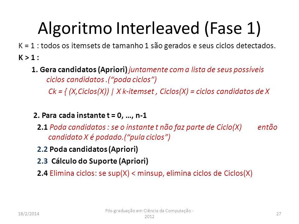 Algoritmo Interleaved (Fase 1) K = 1 : todos os itemsets de tamanho 1 são gerados e seus ciclos detectados. K > 1 : 1. Gera candidatos (Apriori) junta