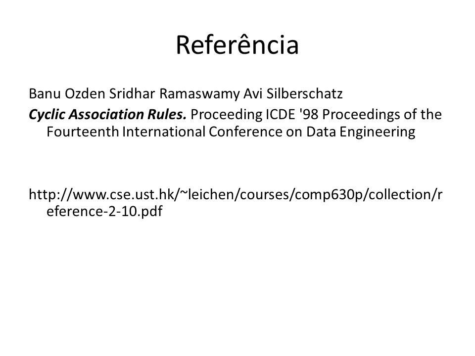 Referência Banu Ozden Sridhar Ramaswamy Avi Silberschatz Cyclic Association Rules. Proceeding ICDE '98 Proceedings of the Fourteenth International Con