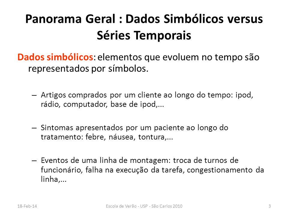 18-Feb-14Escola de Verão - USP - São Carlos 20103 Panorama Geral : Dados Simbólicos versus Séries Temporais Dados simbólicos: elementos que evoluem no