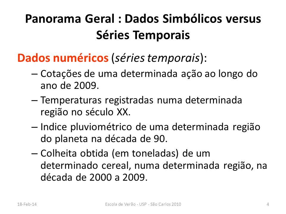 18-Feb-14Escola de Verão - USP - São Carlos 20104 Panorama Geral : Dados Simbólicos versus Séries Temporais Dados numéricos (séries temporais): – Cota
