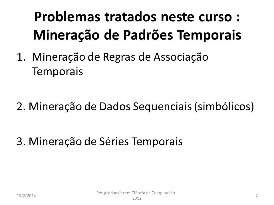 Problemas tratados neste curso : Mineração de Padrões Temporais 1.Mineração de Regras de Associação Temporais 2. Mineração de Dados Sequenciais (simbó