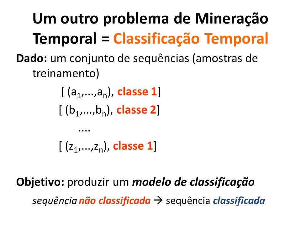 Um outro problema de Mineração Temporal = Classificação Temporal Dado: um conjunto de sequências (amostras de treinamento) [ (a 1,...,a n ), classe 1]