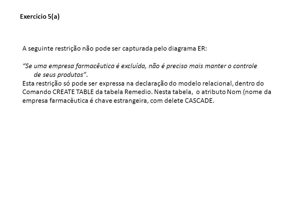 Exercicio 5(a) A seguinte restrição não pode ser capturada pelo diagrama ER: Se uma empresa farmacêutica é excluída, não é preciso mais manter o contr