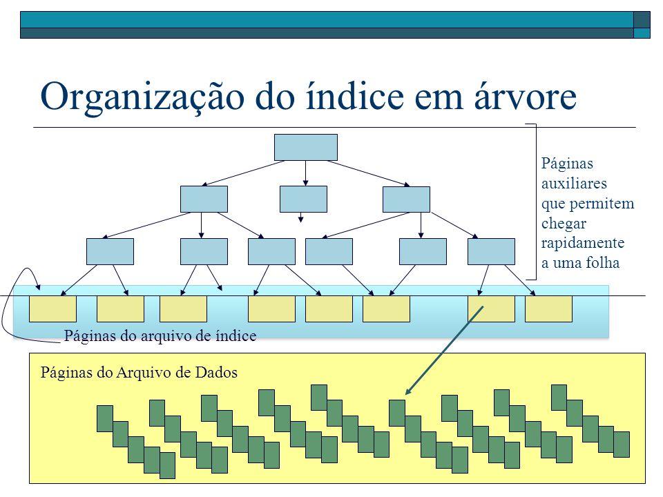 Organização do índice em árvore Páginas auxiliares que permitem chegar rapidamente a uma folha Páginas do arquivo de índice Páginas do Arquivo de Dados