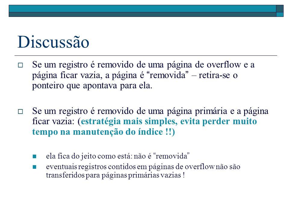 Discussão Se um registro é removido de uma página de overflow e a página ficar vazia, a página é removida – retira-se o ponteiro que apontava para ela.