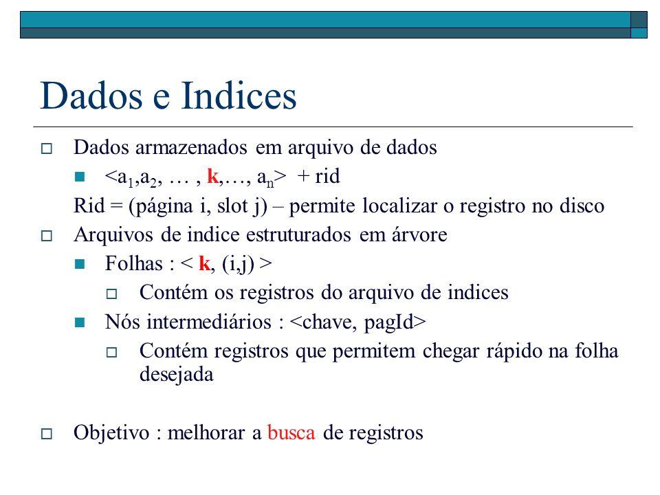 Dados e Indices Dados armazenados em arquivo de dados + rid Rid = (página i, slot j) – permite localizar o registro no disco Arquivos de indice estruturados em árvore Folhas : Contém os registros do arquivo de indices Nós intermediários : Contém registros que permitem chegar rápido na folha desejada Objetivo : melhorar a busca de registros
