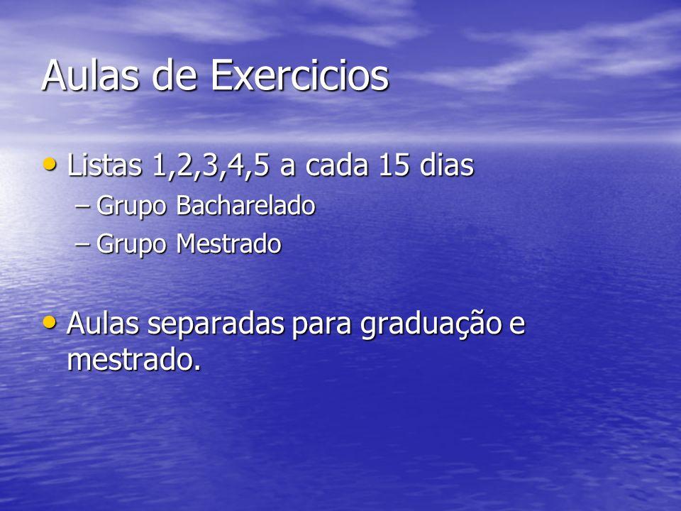 Aulas de Exercicios Listas 1,2,3,4,5 a cada 15 dias Listas 1,2,3,4,5 a cada 15 dias –Grupo Bacharelado –Grupo Mestrado Aulas separadas para graduação
