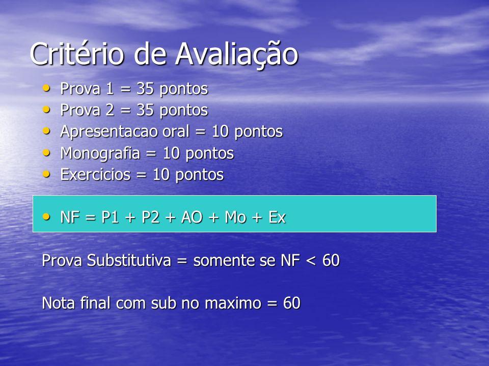 Critério de Avaliação Prova 1 = 35 pontos Prova 1 = 35 pontos Prova 2 = 35 pontos Prova 2 = 35 pontos Apresentacao oral = 10 pontos Apresentacao oral