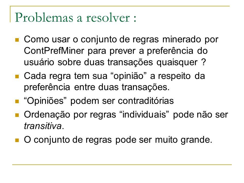 Problemas a resolver : Como usar o conjunto de regras minerado por ContPrefMiner para prever a preferência do usuário sobre duas transações quaisquer .