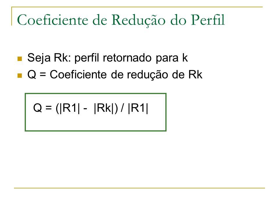 Coeficiente de Redução do Perfil Seja Rk: perfil retornado para k Q = Coeficiente de redução de Rk Q = (|R1| - |Rk|) / |R1|