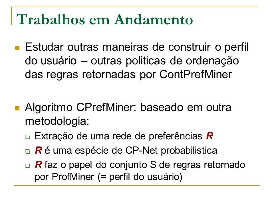 Trabalhos em Andamento Estudar outras maneiras de construir o perfil do usuário – outras politicas de ordenação das regras retornadas por ContPrefMiner Algoritmo CPrefMiner: baseado em outra metodologia: Extração de uma rede de preferências R R é uma espécie de CP-Net probabilistica R faz o papel do conjunto S de regras retornado por ProfMiner (= perfil do usuário)