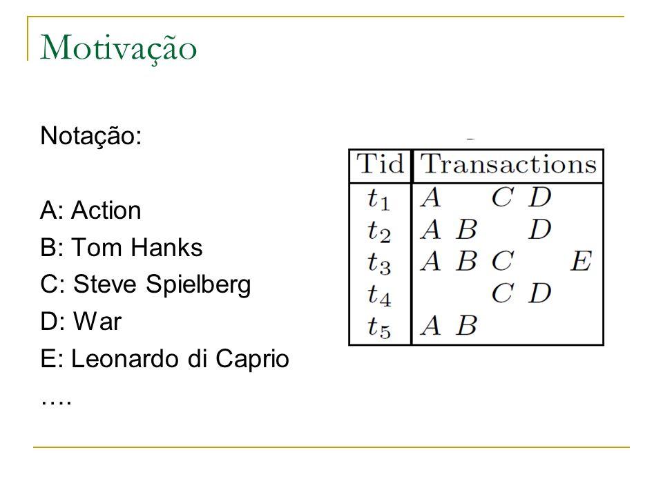 Motivação Notação: A: Action B: Tom Hanks C: Steve Spielberg D: War E: Leonardo di Caprio ….