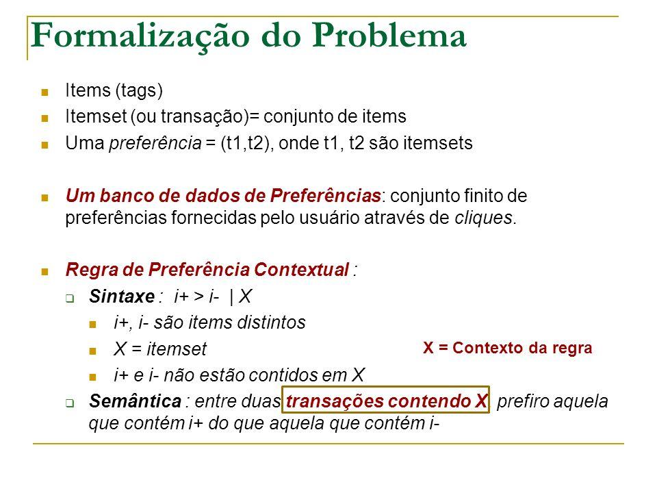 Formalização do Problema Items (tags) Itemset (ou transação)= conjunto de items Uma preferência = (t1,t2), onde t1, t2 são itemsets Um banco de dados de Preferências: conjunto finito de preferências fornecidas pelo usuário através de cliques.