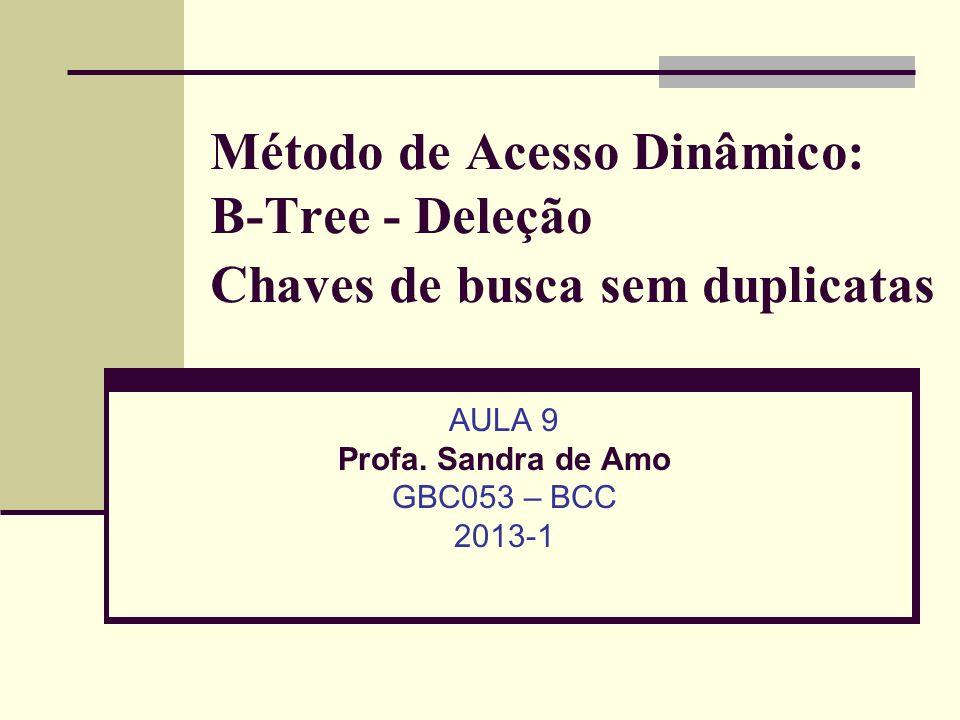 Método de Acesso Dinâmico: B-Tree - Deleção Chaves de busca sem duplicatas AULA 9 Profa.