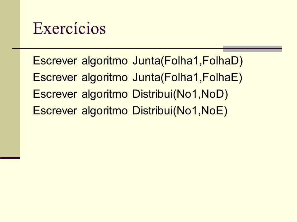 Exercícios Escrever algoritmo Junta(Folha1,FolhaD) Escrever algoritmo Junta(Folha1,FolhaE) Escrever algoritmo Distribui(No1,NoD) Escrever algoritmo Distribui(No1,NoE)