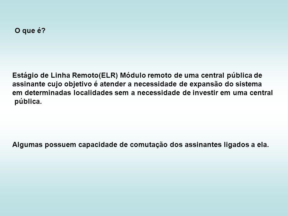 Estágio de Linha Remoto(ELR) Módulo remoto de uma central pública de assinante cujo objetivo é atender a necessidade de expansão do sistema em determi