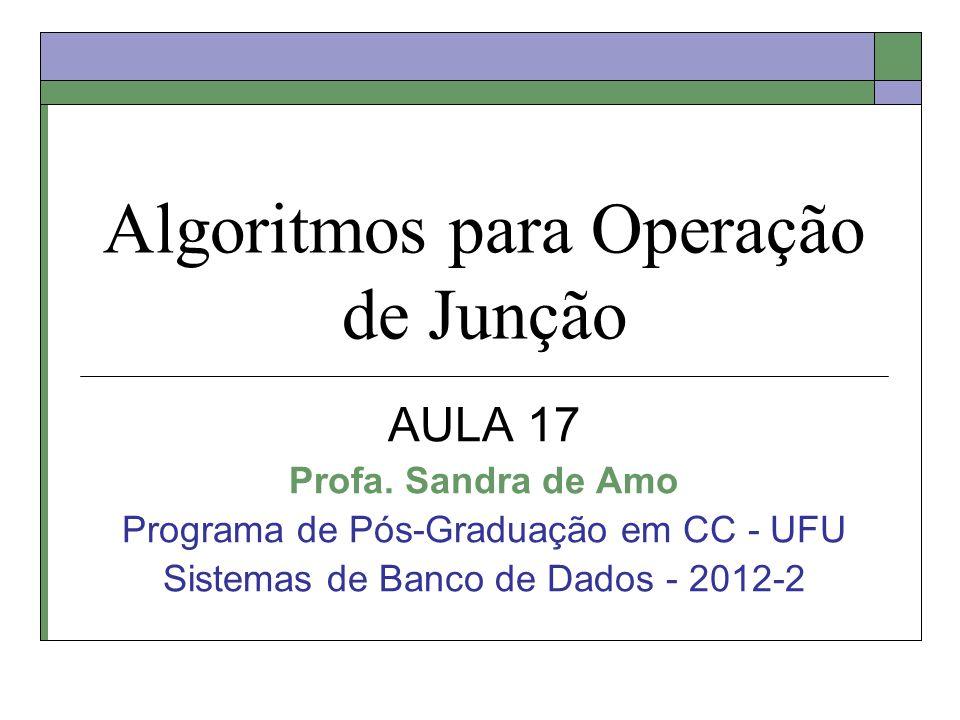 Algoritmos para Operação de Junção AULA 17 Profa. Sandra de Amo Programa de Pós-Graduação em CC - UFU Sistemas de Banco de Dados - 2012-2