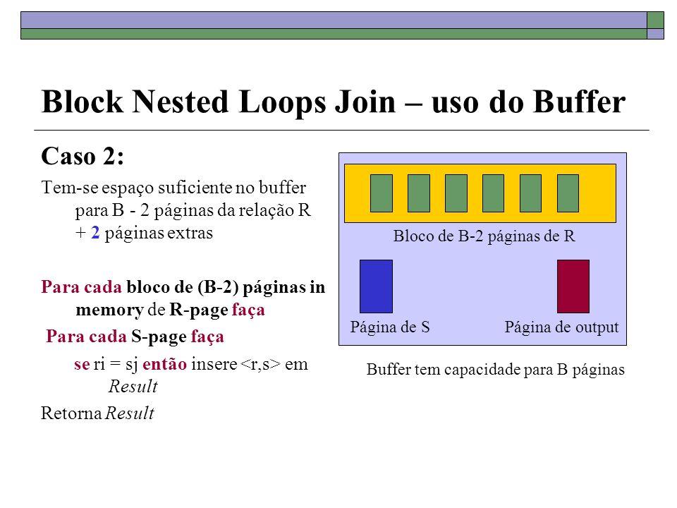 Block Nested Loops Join – uso do Buffer Caso 2: Tem-se espaço suficiente no buffer para B - 2 páginas da relação R + 2 páginas extras Para cada bloco