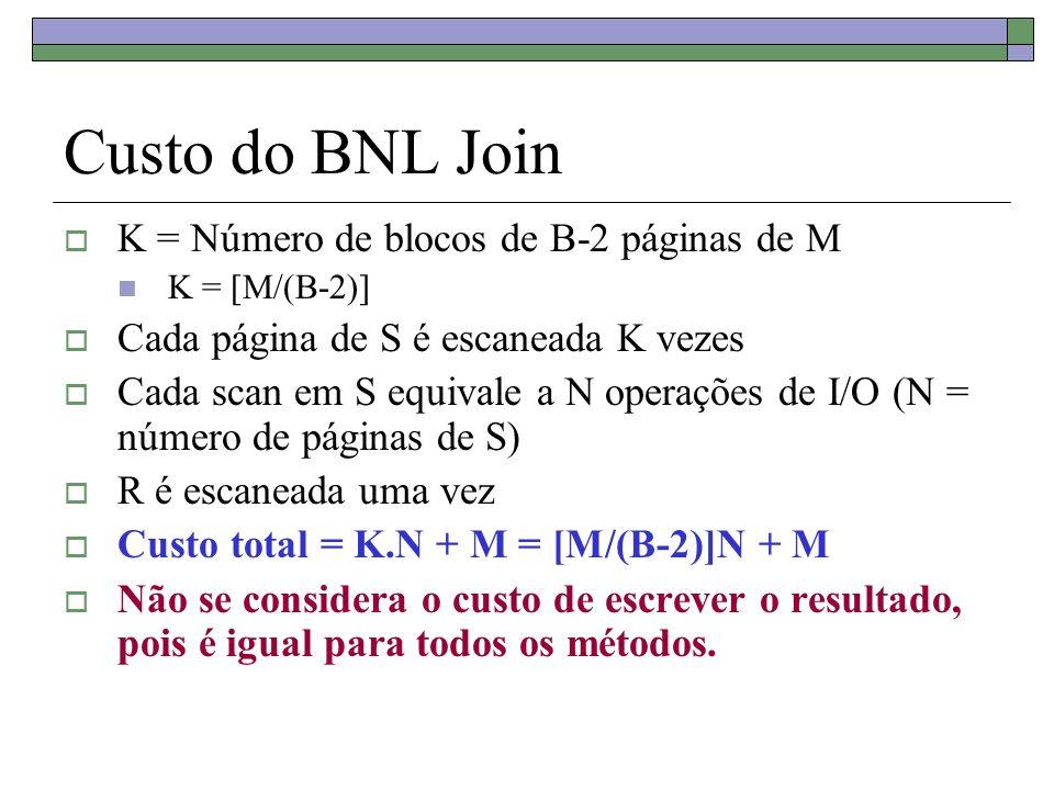 Custo do BNL Join K = Número de blocos de B-2 páginas de M K = [M/(B-2)] Cada página de S é escaneada K vezes Cada scan em S equivale a N operações de