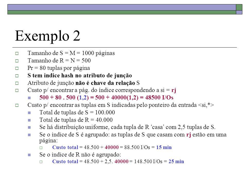 Exemplo 2 Tamanho de S = M = 1000 páginas Tamanho de R = N = 500 Pr = 80 tuplas por página S tem indice hash no atributo de junção não é chave da rela