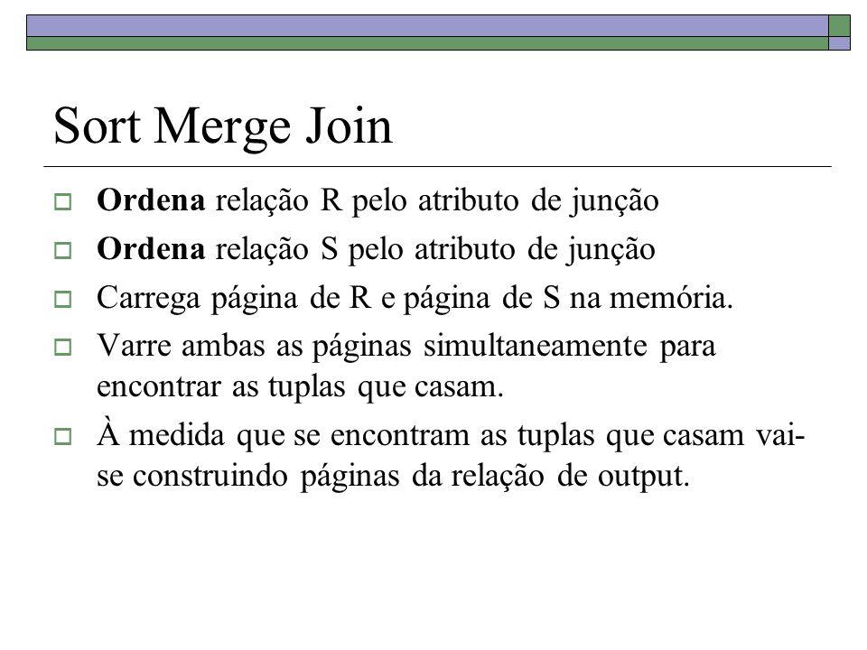 Sort Merge Join Ordena relação R pelo atributo de junção Ordena relação S pelo atributo de junção Carrega página de R e página de S na memória. Varre