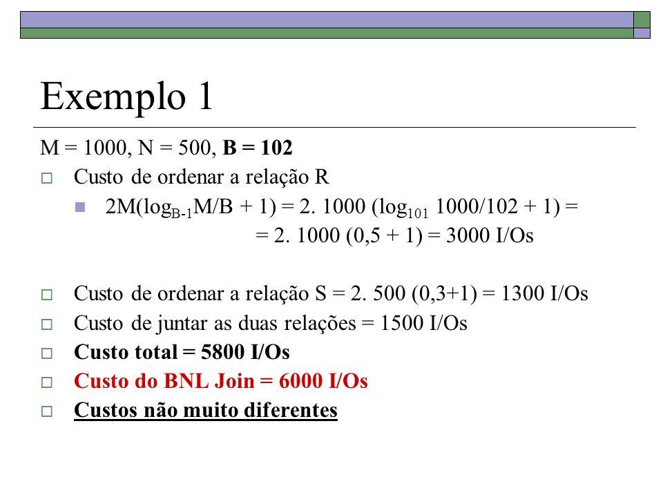 Exemplo 1 M = 1000, N = 500, B = 102 Custo de ordenar a relação R 2M(log B-1 M/B + 1) = 2. 1000 (log 101 1000/102 + 1) = = 2. 1000 (0,5 + 1) = 3000 I/