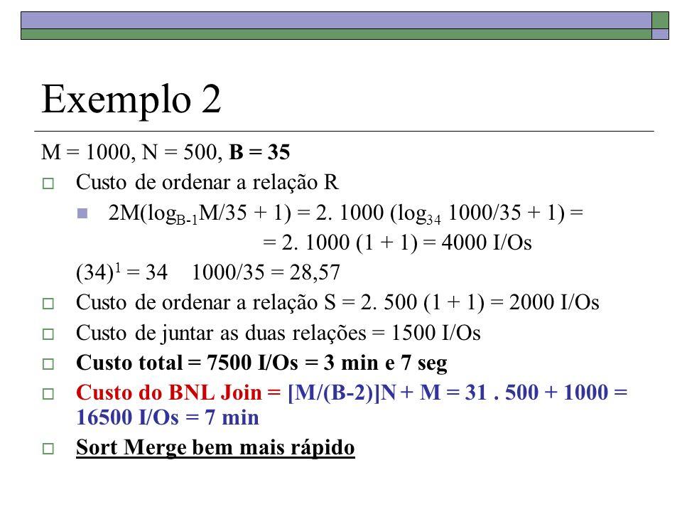 Exemplo 2 M = 1000, N = 500, B = 35 Custo de ordenar a relação R 2M(log B-1 M/35 + 1) = 2. 1000 (log 34 1000/35 + 1) = = 2. 1000 (1 + 1) = 4000 I/Os (