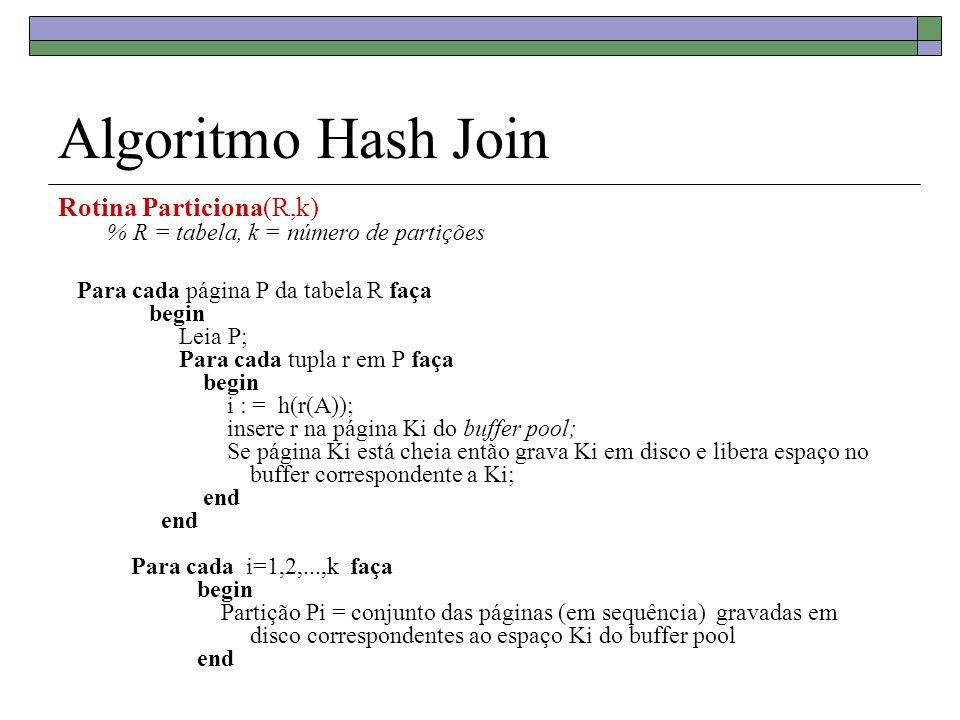 Algoritmo Hash Join Rotina Particiona(R,k) % R = tabela, k = número de partições Para cada página P da tabela R faça begin Leia P; Para cada tupla r em P faça begin i : = h(r(A)); insere r na página Ki do buffer pool; Se página Ki está cheia então grava Ki em disco e libera espaço no buffer correspondente a Ki; end end Para cada i=1,2,...,k faça begin Partição Pi = conjunto das páginas (em sequência) gravadas em disco correspondentes ao espaço Ki do buffer pool end