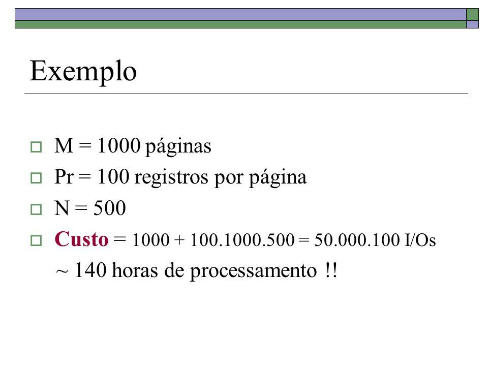 Exemplo M = 1000, N = 500, B = 102 102 > 2.1000 ½ + 3 = 64 + 3 = 67 Custo da 1 a iteração da ordenação = 2M + 2N = 2000 + 1000 = 3000 I/Os Custo da 2 a iteração (junção) = M + N = 1500 I/Os Custo total = 4500 I/Os = 45 segundos