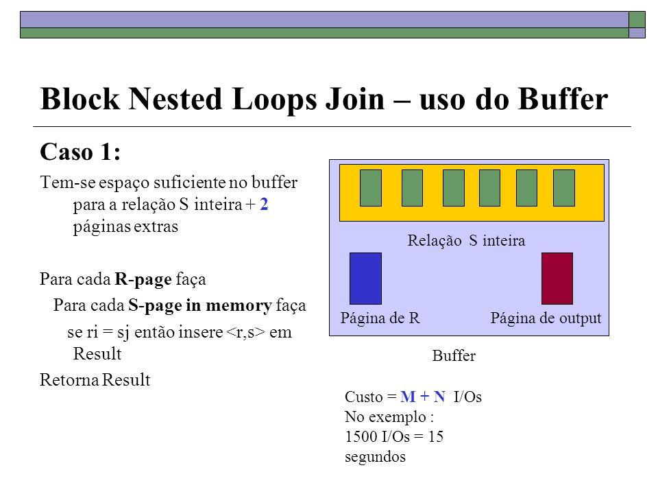 Block Nested Loops Join – uso do Buffer Caso 2: Tem-se espaço suficiente no buffer para B - 2 páginas da relação R + 2 páginas extras Para cada bloco de (B-2) páginas in memory de R-page faça Para cada S-page faça se ri = sj então insere em Result Retorna Result Bloco de B-2 páginas de R Buffer tem capacidade para B páginas Página de SPágina de output
