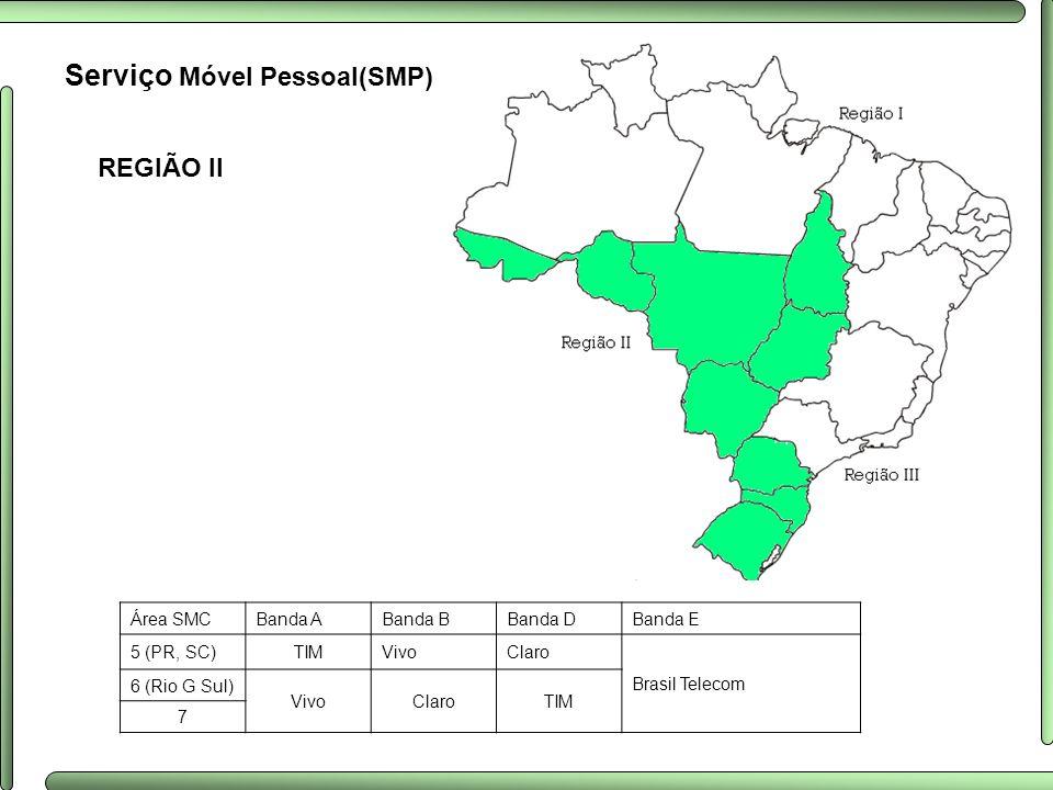 REGIÃO II Serviço Móvel Pessoal(SMP) Área SMCBanda ABanda BBanda DBanda E 5 (PR, SC)TIMVivoClaro Brasil Telecom 6 (Rio G Sul) VivoClaroTIM 7