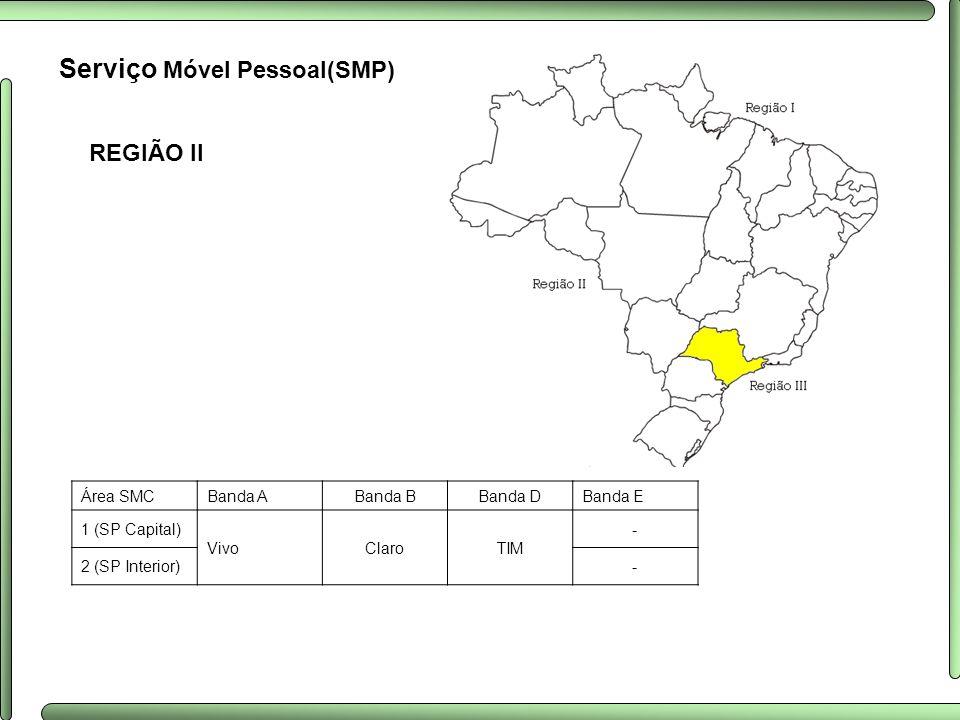 REGIÃO II Serviço Móvel Pessoal(SMP) Área SMCBanda ABanda BBanda DBanda E 1 (SP Capital) VivoClaroTIM - 2 (SP Interior)-