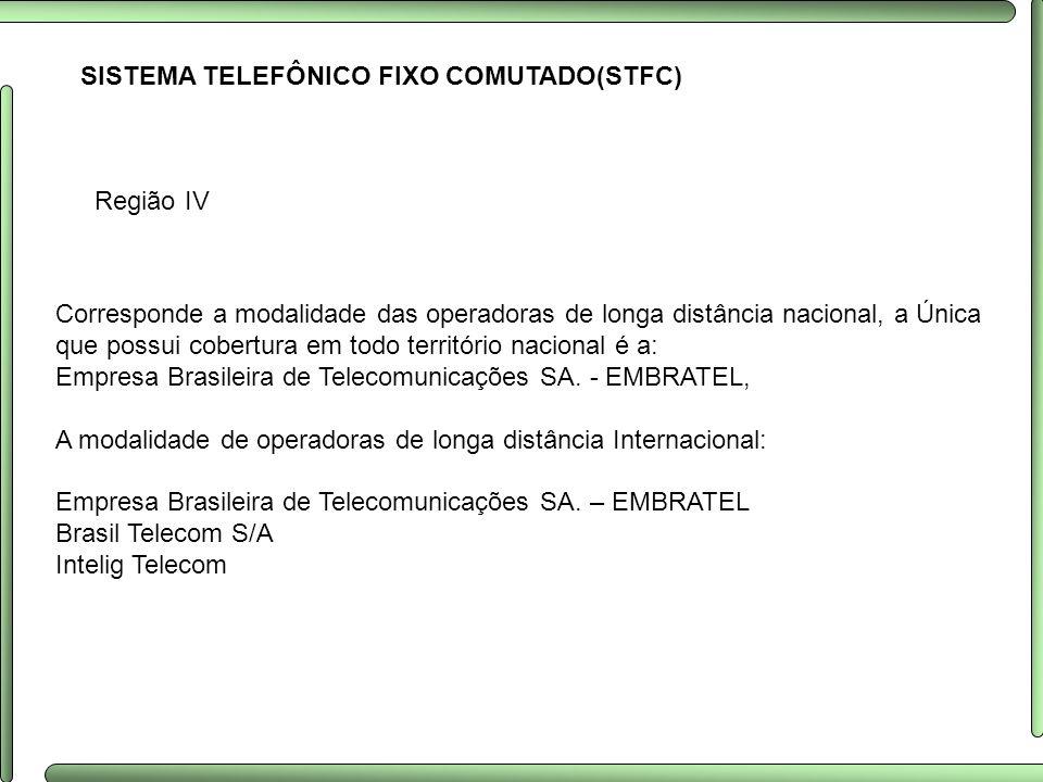 SISTEMA TELEFÔNICO FIXO COMUTADO(STFC) Região IV Corresponde a modalidade das operadoras de longa distância nacional, a Única que possui cobertura em