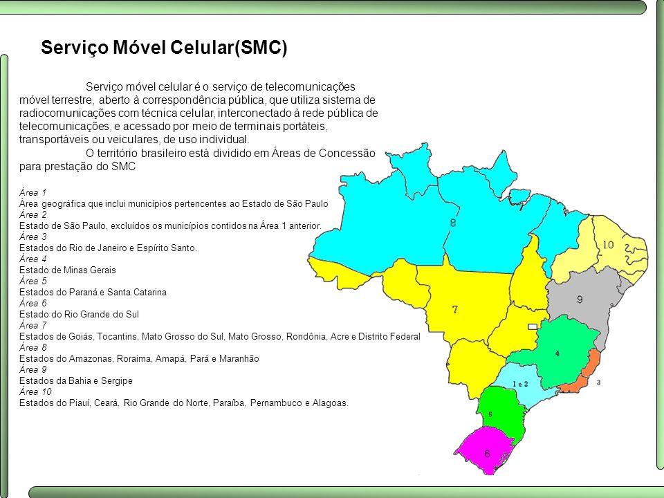 Serviço Móvel Celular(SMC) Serviço móvel celular é o serviço de telecomunicações móvel terrestre, aberto à correspondência pública, que utiliza sistem