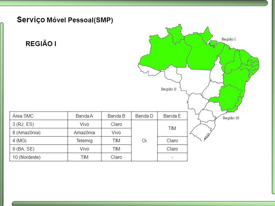 REGIÃO I Serviço Móvel Pessoal(SMP) Área SMCBanda ABanda BBanda DBanda E 3 (RJ, ES)VivoClaro Oi TIM 8 (Amazônia)AmazôniaVivo 4 (MG)TelemigTIMClaro 9 (