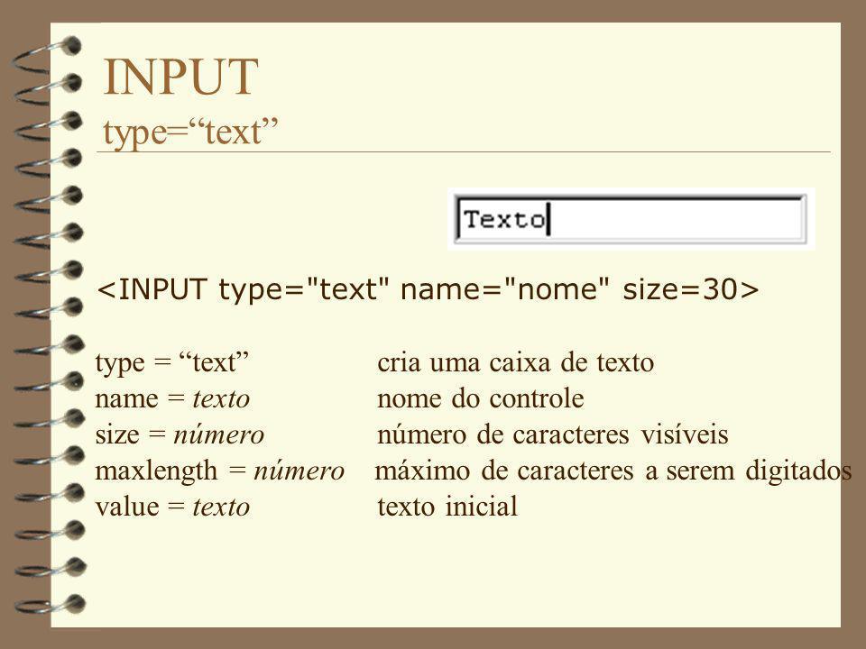 INPUT type=password type = password cria uma caixa de senha name = texto nome do controle size = número número de caracteres visíveis maxlength = número máximo de caracteres a serem digitados value = texto texto inicial (não deve ser utilizado...) Obs: Só com o formulário não garante-se segurança.