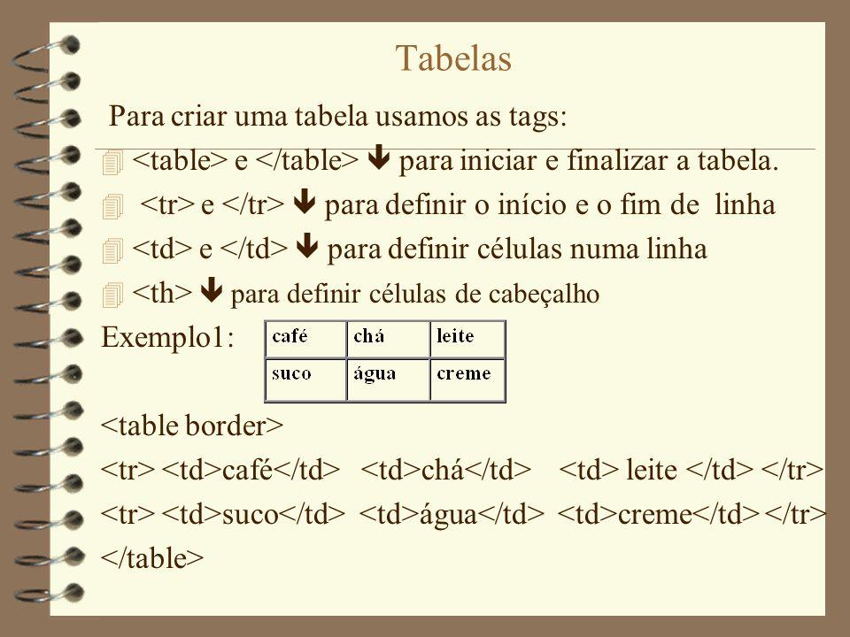 Tabelas Para criar uma tabela usamos as tags: 4 e para iniciar e finalizar a tabela. 4 e para definir o início e o fim de linha 4 e para definir célul