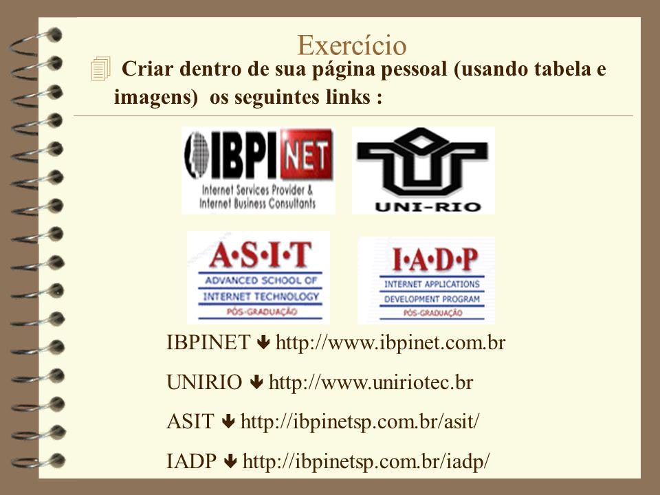 Exercício 4 Criar dentro de sua página pessoal (usando tabela e imagens) os seguintes links : IBPINET http://www.ibpinet.com.br UNIRIO http://www.unir
