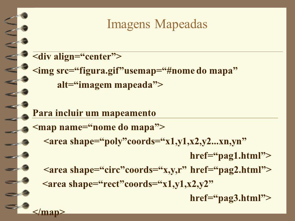 Imagens Mapeadas <img src=figura.gifusemap=#nome do mapa alt=imagem mapeada> Para incluir um mapeamento <area shape=polycoords=x1,y1,x2,y2...xn,yn hre