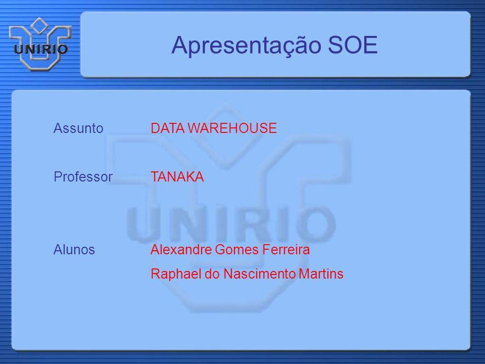 Apresentação SOE Assunto DATA WAREHOUSE Professor TANAKA AlunosAlexandre Gomes Ferreira Raphael do Nascimento Martins