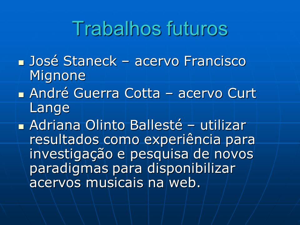 Trabalhos futuros José Staneck – acervo Francisco Mignone José Staneck – acervo Francisco Mignone André Guerra Cotta – acervo Curt Lange André Guerra
