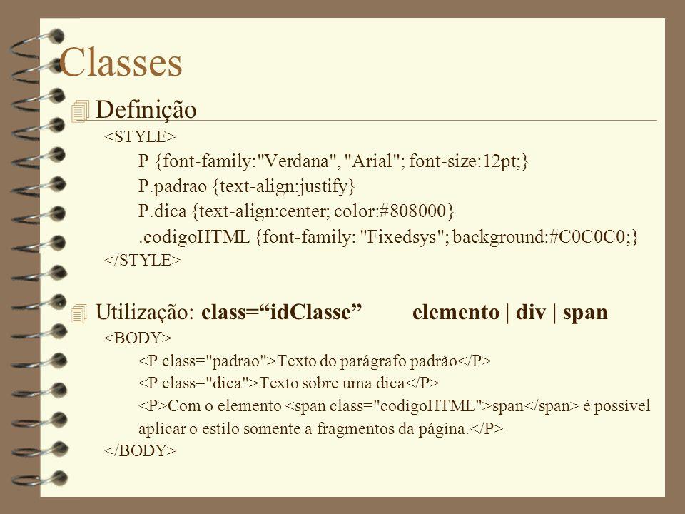 Classes 4 Definição P {font-family:
